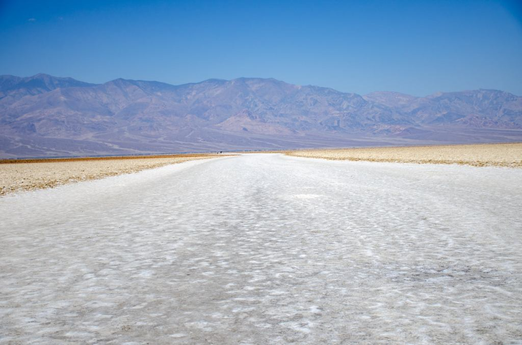 Badwater Basin salt flats are shown in Death Valley National Park in the summer