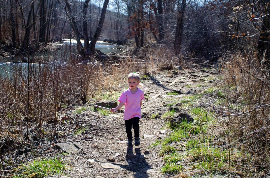 A child walks along the trail toward Kings River Falls