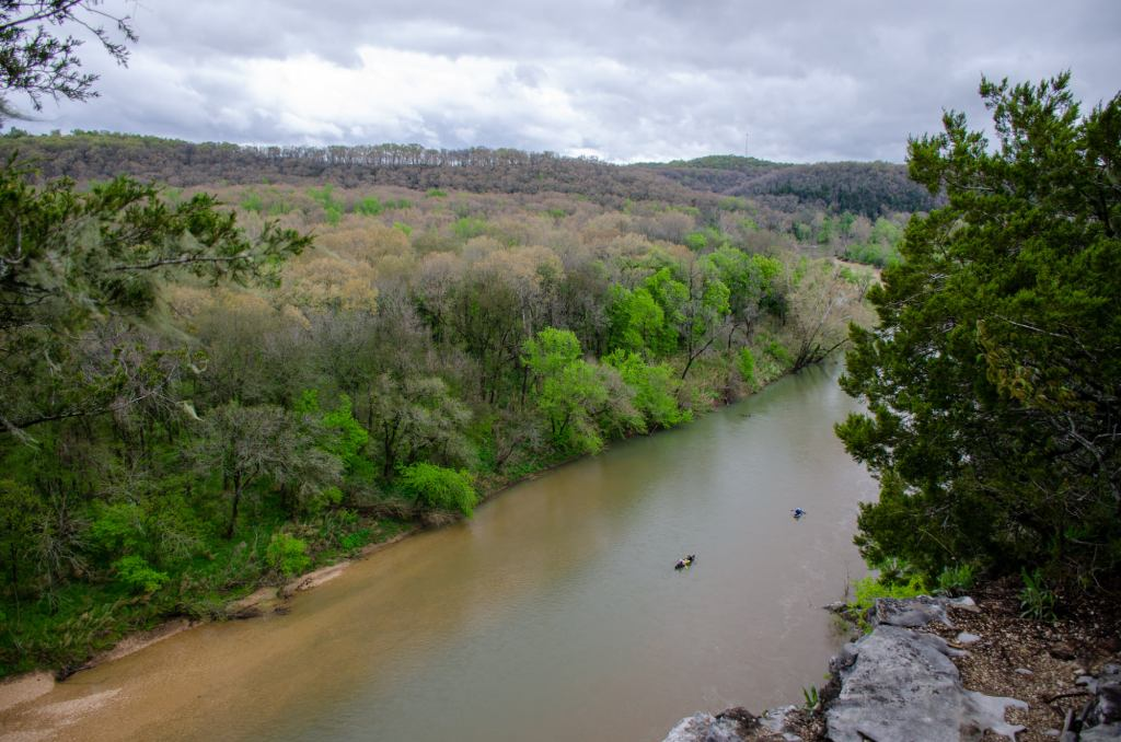 The Buffalo River is shown from a cliff on the Riverview Trail