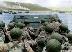 D Day - approaching Omaha - color restored by pwnagepancakes