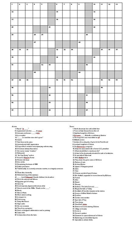 death of the novel: literary crossword puzzle