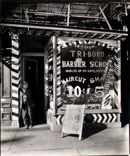 """Tri-boro Barber School, 264 Bowery, Manhattan, , 1935-1939, by Berenice Abbott (1898-1991). Photograph; gelatin silver print, matte. The Miriam and Ira D. Wallach Division of Art, Prints and Photographs: Photography Collection, The New York Public Library. New York Public Library Digital Collections."