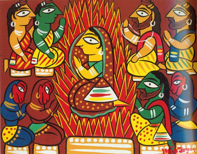 Sita's trial by fire, ca. 1940, by Jamini Roy (Indian, 1887–1972) or workshop. Opaque watercolors on cardboard. Victoria and Albert Museum, London, Given by Mr. J. C. Irwin, IS.49-1979.