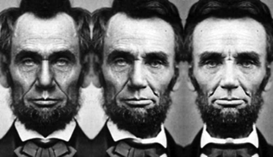 Left face / Right face: Abe Lincoln.