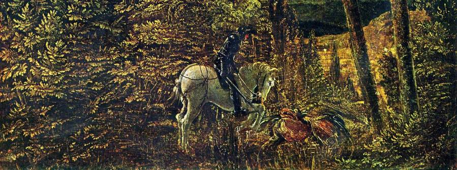 Albrecht Altdorfer, Countryside of Woods with Saint George Fighting the Dragon (detail), 1510.
