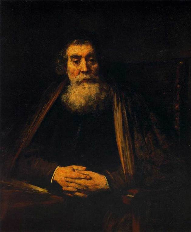 Old Man in an Armchair (Jan Amos Comenius?), ca. 1660-1665, by Rembrant. Oil on canvas. Galleria degli Uffizi, Florence, 69.234.