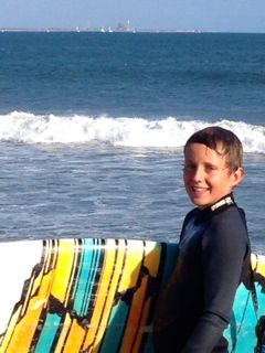 "Bryce with his Robert's 6'4"" epoxy board at Surfer's Point, Ventura, CA"