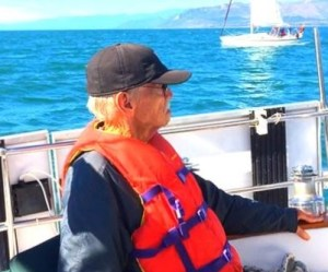 My 80 yr-old dad sailing with us after Leslie's plunge