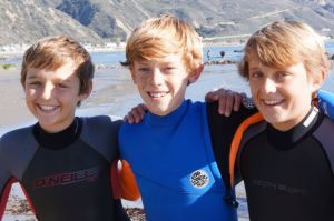 Trent, Charlie, and Bryce at Faria Beach before soaking his GoPro