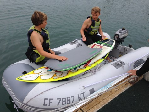 Trent and Bryce prepared to dinghy off to Oceanside Harbor Beach.