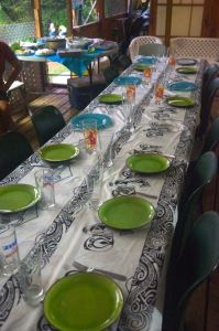Table is set for a Falchetto family dinner, welcoming us to Nuku Hiva