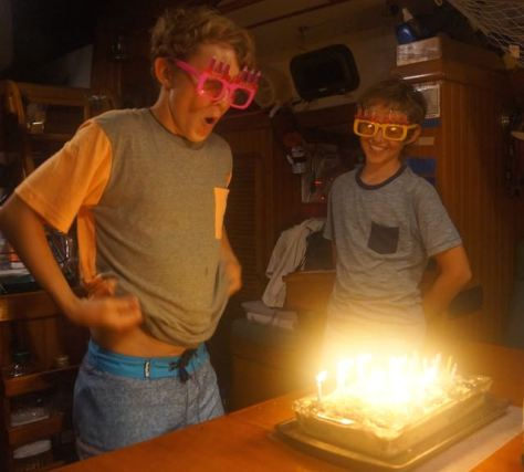 Bryce and Trent's September 2015 birthday celebration aboard Kandu turning 14 and 12 years.