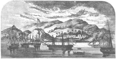 United States Navy Commodore David Porter's fleet off Nuku Hiva in October 1813.