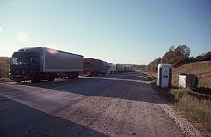 LKW-Kolonne an der russischen Grenze