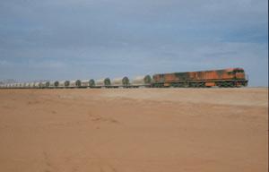 Die Eisenbahnlinie am Wadi Rum