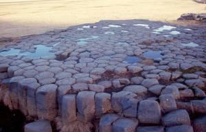 """""""Kirchenfußboden"""" von Kirkjugolf: Basaltsäulen, glattgeschliffen von Eis und Wasser"""