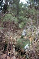 ... künstlichen Wasserfällen in einer Schlucht