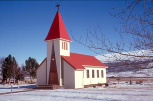 Kirche am südlichen Ende des Lögurinn-Sees