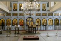 Der Altarraum der Kirche für Nikolaus II