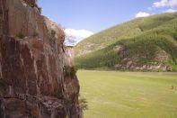 Der Felsen mit den Tiergravuren...