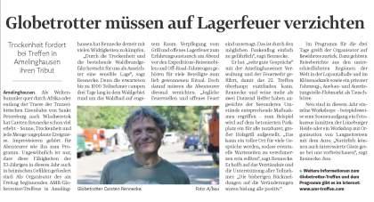 Ankündigung des AMR-Globetrottertreffens in der Landeszeitung Lüneburg