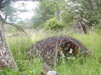 ...und der erste kleine Naturpark auf Feuerland mit Nachbauten von Unterkünften der Selk'nam, ...