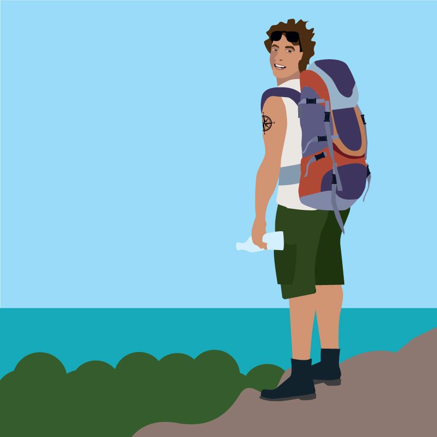Sebastian på vandretur