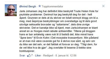 Jeg er antisemit, sier Øivind Bergh