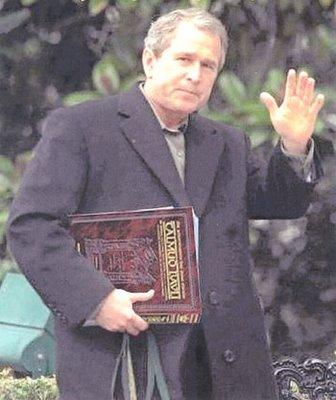 George Bush på vei til Talmud klasse.