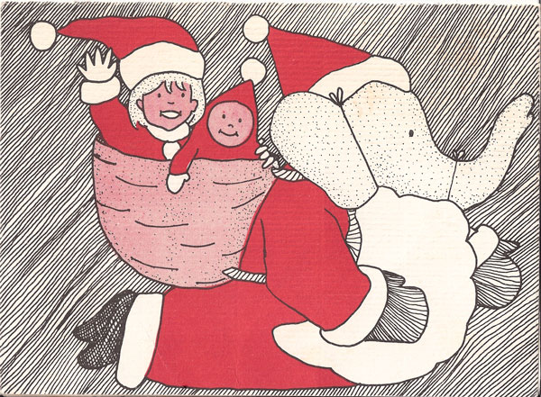 Babar Christmas Card, 1989, Offset Print