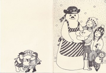Snowman Christmas Card, 1991-outside, Offset print
