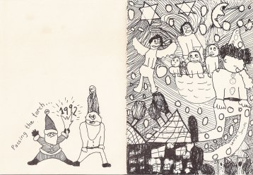 Christmas Card 1992, drawing by Lauren, Offset print