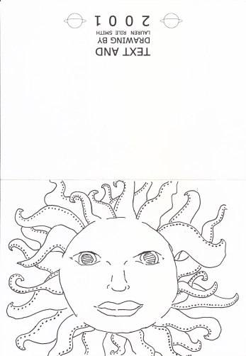 Sun Solstice Card 2001 - outside; drawing by Lauren