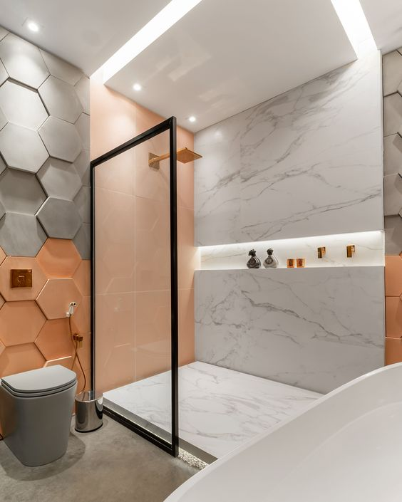 which tiles go best with marble bathrooms