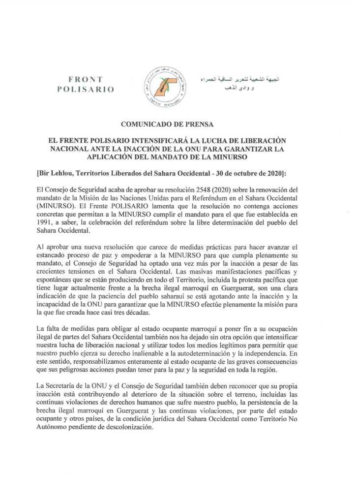 El Consejo de Seguridad de la ONU renueva por 12 meses el mandato de la MINURSO en el Sáhara Occidental.