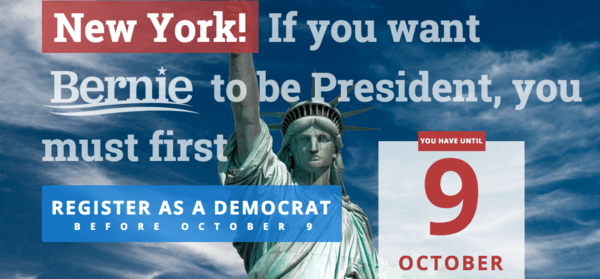 Not a registered #Dem in #NY and want to #vote for #BernieSanders? You have 2 days to register! | Blog#42