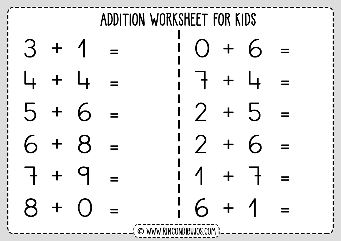 Free Addition Worksheets For Kids
