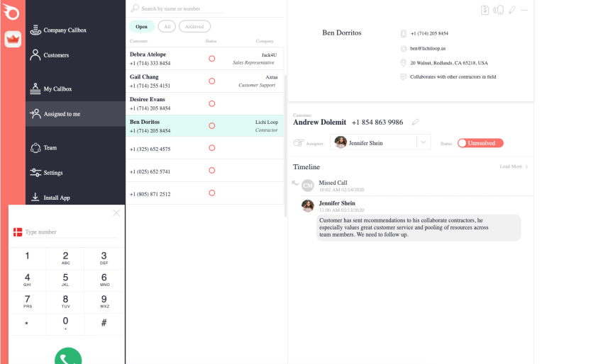 RingBlaze Dashboard assigning calls to team members