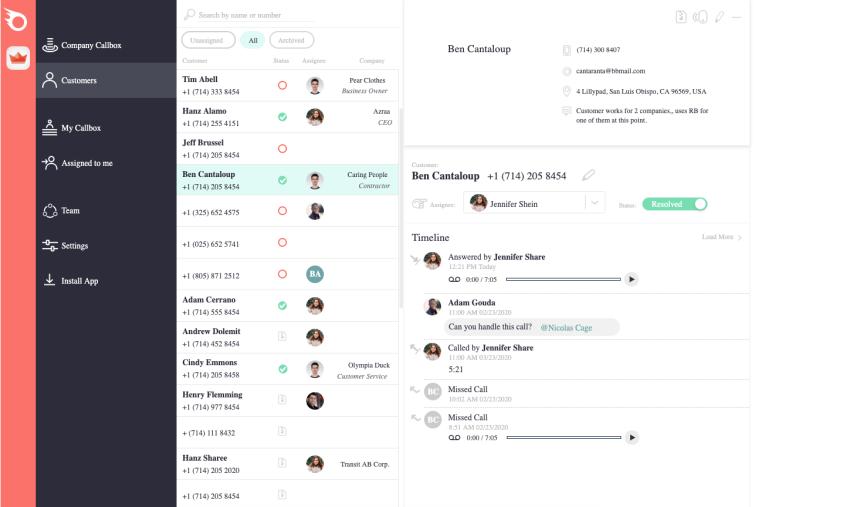 RingBlaze Dashboard keep track of calls