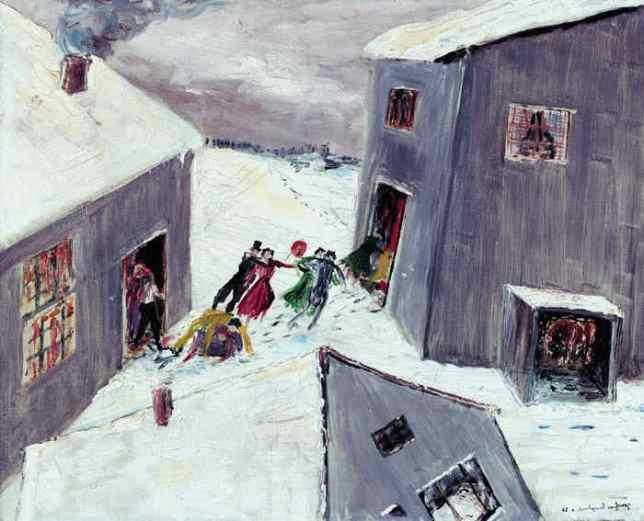 Fasching im Schnee, Ölgemälde,1926. (Dauerleihgabe an die Joachim-Ringelnatz-Stiftung)