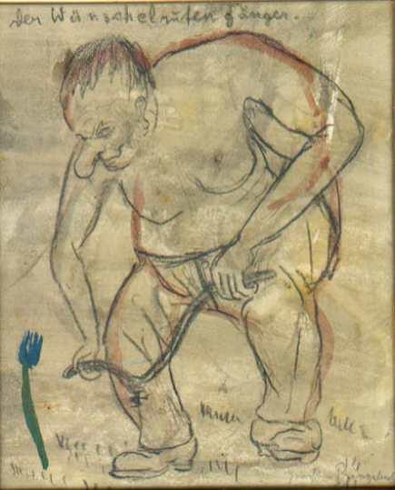 Der Wünschelrutengänger, kolorierte Zeichnung, o.J.