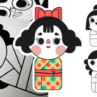 Guirlande poupées kokeshi