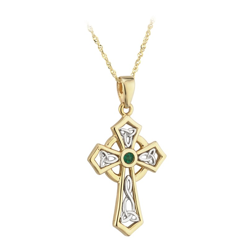 Emerald Set Celtic Cross Necklace Celtic Crosses Rings