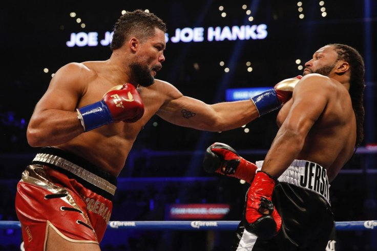 Heavyweight Joe Joyce (left) pursues Joe Hanks en route to his first round stoppage on the Deontay Wilder-Tyson Fury undercard. Photo / @ShowtimeBoxing