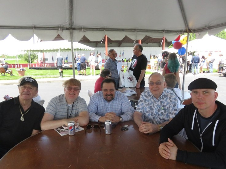 """The panel for the IBHOF's highly unofficial """"Sausage Sandwich Summit."""" From left to right: Richard Schwartz, Lee Groves, Frank Bartolini, Albert Derouin and Kirk Lang"""