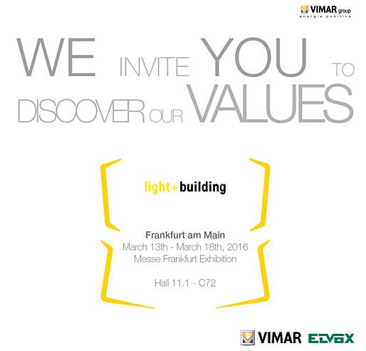 Vimar partecipa a Light + Building 2016