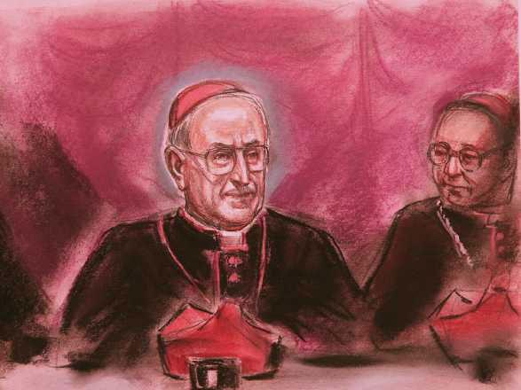 Il cardinale Siri in un disegno dell'epoca