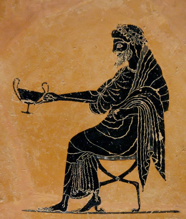 Dionysus extending a drinking cup (kantharos), late 6th century BC