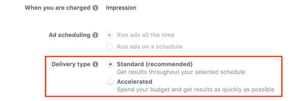 Facebook Ads Delivery Type