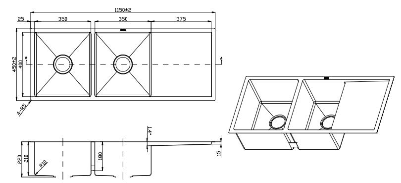 handmade double blow under mount kitchen sink with drainer